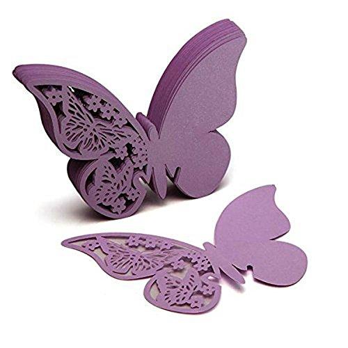 Venkaite - Tarjetas para indicar asientos en mesas, 50unidades, para bodas y otras fiestas, en forma de mariposa, de papel, para vasos