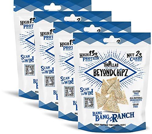 BeyondChipz Torpillas Low Carb Keto Gluten Free Tortilla Chips, Bang Bang Ranch, 4pack