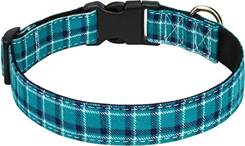 Taglory Hundehalsband, Kariertes Hundehalsband,Verstellbares Hundehalsband für Kleine,Mittelgroße und Große Hunde,Blau,XS