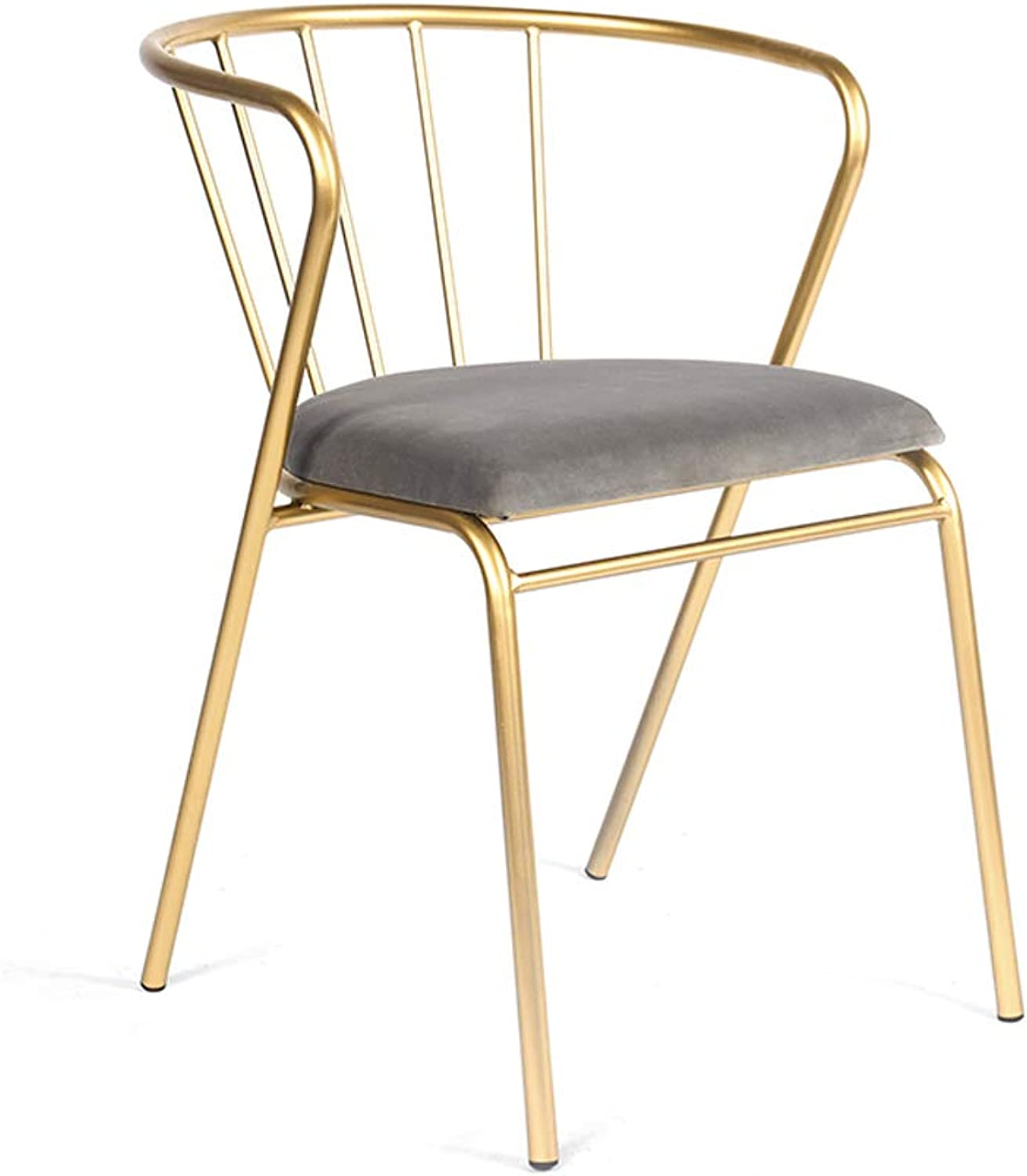 Lxn Modern Simplicity Design golden Wrought Iron Dining Chair,Fabric Cushion Metal Legs,Dining Room, Kitchen, Bedroom, Lounge Side Economic Type Chairs - 1pcs