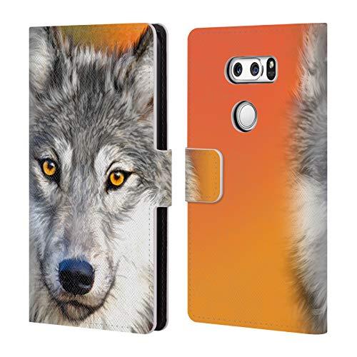 Head Case Designs Offizielle Aimee Stewart Herbst Wolf Tiere Leder Brieftaschen Huelle kompatibel mit LG V30 / V30S ThinQ / V35 ThinQ