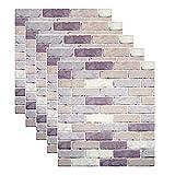 3D Papel tapiz de ladrillo, repique extraíble y pegatina de pared de espuma PE para sala de estar 2.69m2 (5 piezas de ladrillo Estilo 4)