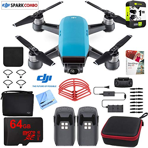 DJI Spark Fly More Drone Combo Sky Blue Bundle with Custom Hard Case, 64GB High Speed Card, Corel PaintShop Pro X9, High Visibility Pro Guards, Cleaning Cloth and Accessories