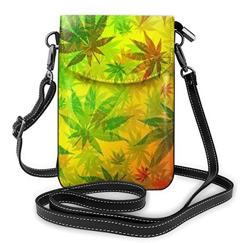 Bolso cruzado pequeño para mujer y niña, monedero para teléfono celular, ligero, espacioso, para viajes, bolso bandolera con ranuras para tarjetas de crédito, hojas de marihuana Rasta