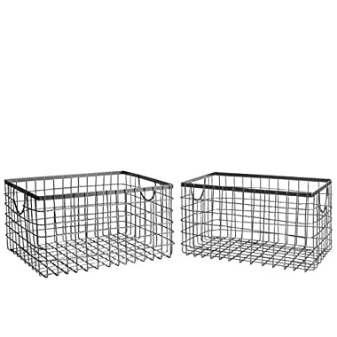 SLPR Wire Storage Shelf Basket (Set of 2, Industrial Grey)   Organizer Storage Container for Laundry Pantry Freezer Cabinet