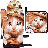Guantes y agarraderas para Horno, Safari Cat Kittens Animal Art Print Guante para Hornear y Soporte para ollas para cocinar BBQ, 3 Piezas Set-Kitten in a Hat Cat Animal