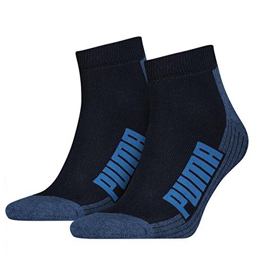 PUMA Unisex Cushioned Quarter Socken 4er Pack, Größe:43-46;Farbe:Navy/Grey/Strong Blue
