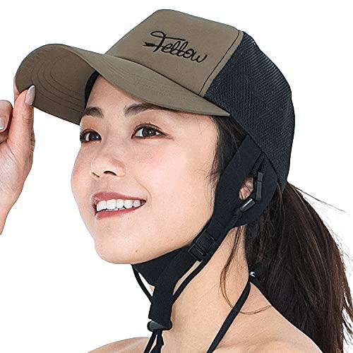 FELLOW(フェロー) サーフキャップ レディース サーフハット 57cm 海 帽子 サーフィン フリーサイズ ビーチキャップ 日よけ 紫外線カット (ダークベージュ, FREE 57cm)