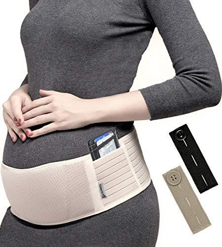 Luamex Neuheit - Schwangerschaftsgürtel verstellbar mit Taschen - Bauchgurt für Schwangere - Bauchband Schwangerschaft - Bauchstütze atmungsaktiv - Umstandsmode - inkl. eBook + Hosenbunderweiterung