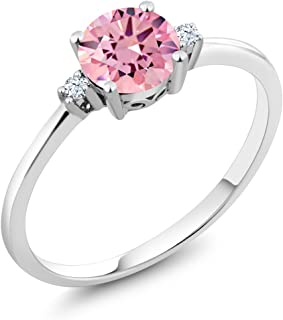 Gem Stone King 10K White Gold Engagement Solitaire Ring set with 1.53 Ct Round Pink Zirconia and White Created Sapphires