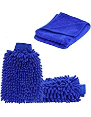 2-Pack Ultimate Car Wash Mitt - Free Polishing Cloth, High Density, Ultra-Soft Microfiber Wash Glove, Lint Free, Scratch Free - Use Wet or Dry