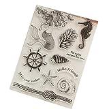 ECMQS Mermaid DIY Transparente Briefmarke, Silikon Stempel Set, Clear Stamps, Schneiden Schablonen, Bastelei Scrapbooking-Werkzeug