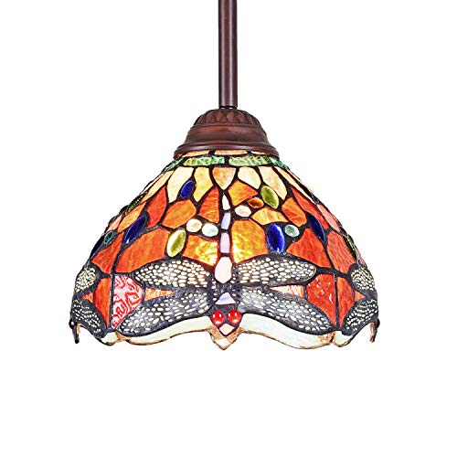 Capulina Tiffany Pendant Lights Stained Glass Hanging Lamp Kitchen Island Lighting Dragonfly Shape 8' Width for Kitchen Dining Room