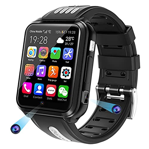 HQPCAHL Smartwatch Reloj para niños Infantil con GPS, LBS, BeiDou (KOMPASS), cámara, Llamadas y Mensajes, MP3 Música, Podómetro Waterproof para Niños Niñas,Negro,9G+32G Memory Card