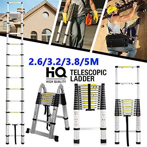 Escalera telescópica extensible plegable de aluminio resistente, escalera multiusos, carga máxima 150 kg (330 libras), antideslizante para techo de escalada