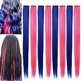 RYH 8 piezas de clip en extensiones de cabello de colores para niñas, mujeres, azul, rosa, piezas de cabello, peluca para niñas, clips multicolores para fiestas (azul rosa)