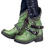Sallypan Damen Stiefeletten Punkweinlese-Gürtelschnalle Stiefel beiläufige Flache Seiten-Reißverschluss Bequeme Schuhe Short Biker Boots,Grün,43