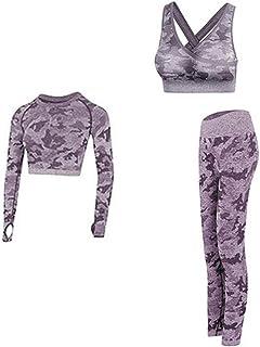 XFKLJ Sports Bra Yoga Pants Gym Set Clothing Seamless Gym Fitness Legging with Corp Tops Workout Sport Suit Women Sportswe...