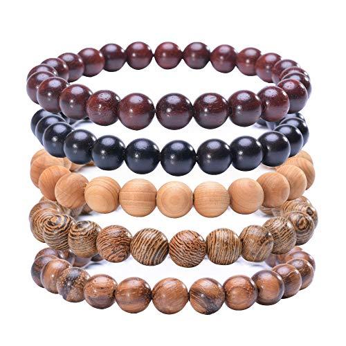 MOFRGO 5 Pcs Natural Sandalwood Beaded Bracelet for Men Women Tibetan Mala Prayer Meditation Yoga Bracelet