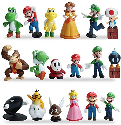ZSWQ Super Mario Mini Figuren 18er Set Geburtstags Party liefert Cupcake Figuren Cake Topper Party Kuchen Dekoration Lieferungen