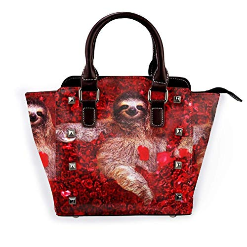 Zhong Shan Bolso de hombro con remaches, bolso de mano con tachuelas de moda de arquitecto de corazón para mujer, bolso de hombro con remaches de cuero PU, bolso cruzado