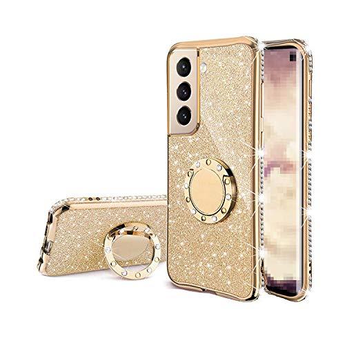 Galaxy S21 Ultra 5G TPU ケース/カバー 透明カバー スマホリング付き 可愛い お洒落 ラメ ギャラクシー S21ウルトラ ラインストーン きらきら おしゃれ アンドロイドスマホ スマートフォンケース/カバー[Galaxy S21 U