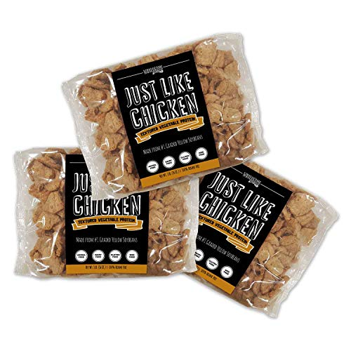 Textured Vegetable Protein, Vegan Meat Substitute, 100% Hexane Free, Made with #1 Graded Yellow Soybeans, 100% Vegan, Made in USA, Gluten Free, Just Like Chicken, Unflavored (3 Pack)