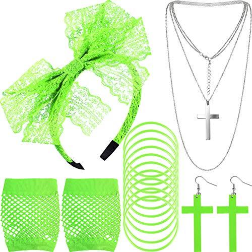 Blulu Accesorios de Disfraz de los Años 1980 Diadema de Encaje Pendientes Guantes de Malla Collar Pulsera (Verde Fluorescente)