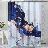 RoomTalks Luxus-Duschvorhang, abstrakter Stoff, 213 cm, modern, blau & goldfarben, Marmorstruktur, Badezimmer-Duschvorhang-Set, extralang (183 cm B x 213 cm L, Marineblau)