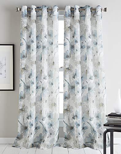 """DKNY Modern Bloom Sheer Grommet Window Curtain Single Panel, 84"""", Linen"""