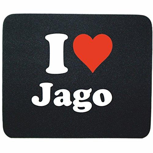 EXCLUSIVO: Tapete de ratón 'I Love Jago' en Negro, una gran idea para un regalo para sus socios, colegas y muchos más!- regalo de Pascua, Pascua, ratón, Palmrest, antideslizante, juegos de jugador, cojín, Windows, Mac OS, Linux, ordenador, portátil, PC, oficina, tableta, Amo Made in GERMANY.
