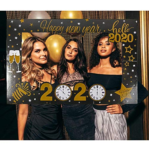 Euopat Marco De Fotos Prop, Selfie Frame Booth Props, 2020 Happy New Year Photo Frame Hand-Hand Photo Props (Classic Christmas)