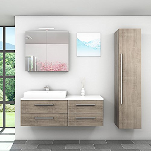 Badmöbel Set City 210 V4 Eiche hell, Badezimmermöbel, Waschtisch 140cm, Beleuchtung Spiegelschrank:ohne +0.-EUR