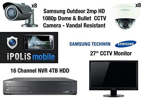 Samsung - Kit de vigilancia CCTV 2 MP 1080p 8 x Bullet y 8 x cámaras + 4 TB 16 CH NVR +...