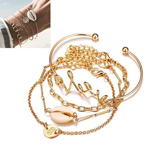 ONEBUYONE 4 Teile/Satz Geschichteten Armband, Boho einstellbare armreif Ananas Shell offenen Armband für Frauen goldene eine größe