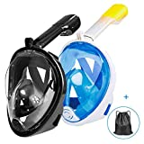 Ezire Full Face Snorkel Mask, 2-Pack Snorkeling Diving Mask with Action Camera Mount, Easy Breath Anti-Fog Anti-Leak Design for Adults (L/XL, Black&Blue)