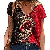 Elesoon Camiseta de verano para mujer, talla grande, 3D, impresión gráfica de rosa, manga corta, suelta, cuello en V, A-rojo, 42