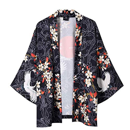 Kimono Cardigan, Dragon868 Hombre Mujer Chaqueta con Estampado Manga 3/4 Tops Blusa, Unisex Hippie Cloak Vintage Estilo JaponéS Ropa de Capa Japones Abrigo TúNica, Negro, M-XXL