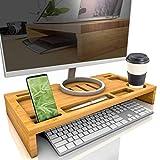 bambuswald© Soporte para Pantalla Universal - 60 x 30 x 8.5 cm de bambú | Elevador de Pantalla para Monitor o portátil - con 7 Compartimentos para Accesorios | Mesa elevadora para el Escritorio