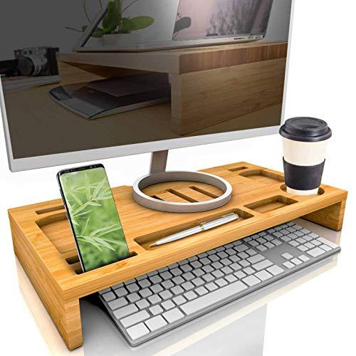 bambuswald© Monitorständer aus Bambus | Bildschirmständer mit Stauraum - ergonomischer Schreibtischaufsatz Schreibtischorganizer ca. 60x30x8,5cm | Bildschirmerhöhung Laptop Notebook