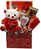 Romantic Gift Basket with Lindor's milk chocolate, Delectable Maître Truffout pralines, and Trufflettes