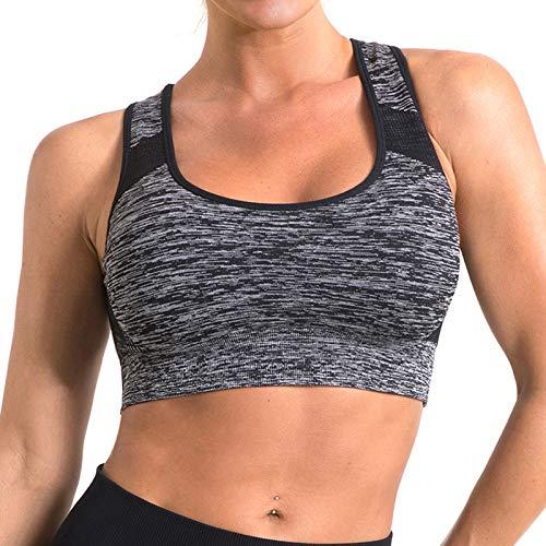 OUDOTA Sujetador deportivo para mujer con push up, sujeción fuerte, pechos grandes, sujetador deportivo con acolchado, sujetador bralette yoga, sujetador acolchado en la espalda #1 Gris XL