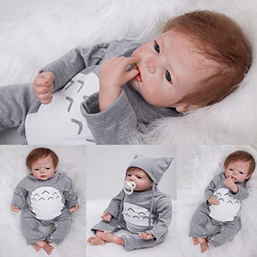 ZIYIUI 22 Zoll 55 cm Reborn Babypuppe Realistisch Neugeborene Reborn Silikon Weichkörper Lebensechtes Reborn Babys Junge öffnen Augen Reborn Puppen Geschenke Geburtstag