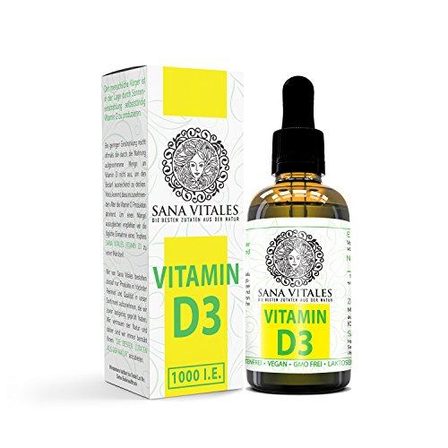 Vitamin D3 LABORGEPRÜFT mit 1000 IE Tropfen hochdosiert und vegan von Sana Vitales - 50 ml flüssiges veganes Vitamin D3 mit sehr hoher BIOVERFÜGBARKEIT. Hergestellt in DEUTSCHLAND.