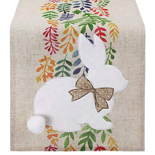 Feuille Easter Table Runner 72 inch - Bunny Table Runner with Removable Tail, Polyester Linen Spring Table Runner, Perfect for Farmhouse Easter Decorations