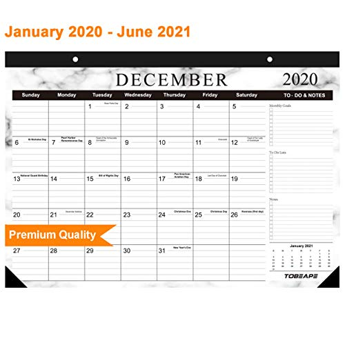 Tobeape 2020-2021 Desk Calendar, Large Monthly Pages 17 x 12 inches Wall Calendar Daily Planner, Hanging 2-Year Runs from Now Through June 2021
