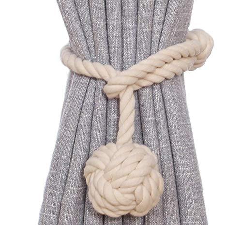 N/A FEILEC Raffhalter für Vorhänge, Quasten, Ball, handgefertigt, Strickzubehör, Baumwollseil, 1 Paar, grau, weiß, 70 cm