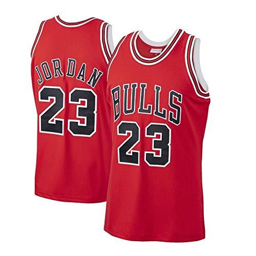 Legend Herren Basketball Trikot/Michael Jordan 23# Chicago Bulls Sommer Ärmelloses Besticktes Retro Jersey Sport Top / 90er Hip Hop Kleidung für Party für/Damen/Herren/Kinder (S-XXL)-red-L
