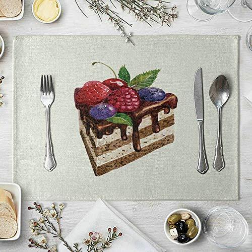 Amody Lot de 4 Set de Table Coton, Tapis Table Basse 40x30cm Gâteau Aux Myrtilles et Cerises Sets de Table pour Table de Salle à Manger Marron Rouge Violet