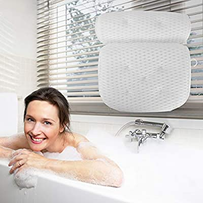 Bath Pillow, Bath Pillows for Tub With 7 Suction Cups 4D Air Mesh Non-slip Soft Support the Head Neck Back Shoulders Suitable for Hot Tubs Massage Bathtubs and Home Spa